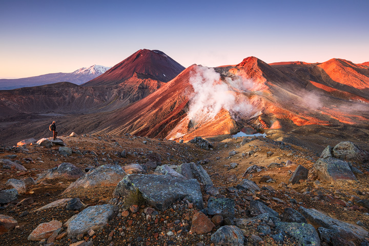 The volcanos of Tongariro in warm morning light