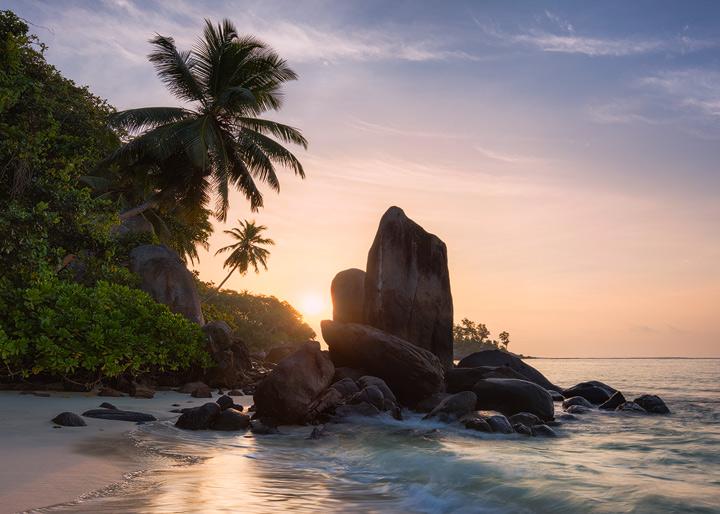 The granite rocks at Anse Royale on Mahe during Sunrise