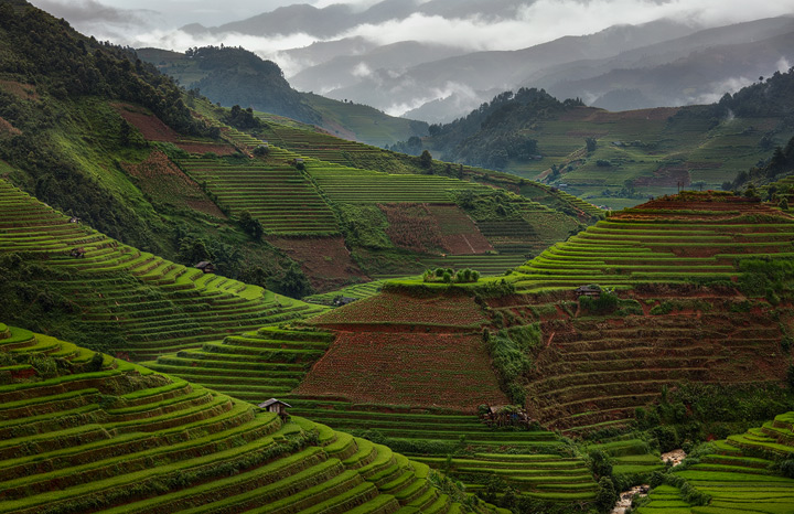 Mountains and rice terraces in northern Vietnam