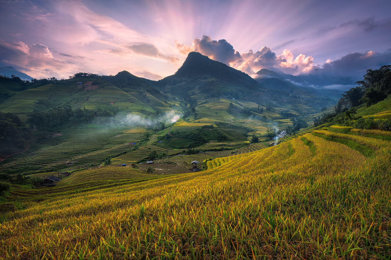 Sunset over the rice paddies of Sapa