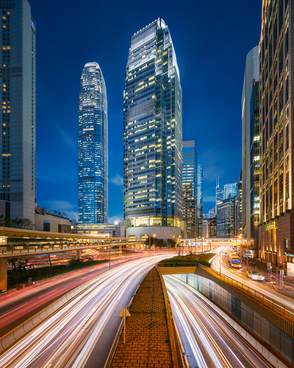 The streets of Hong Kong during Blue Hour