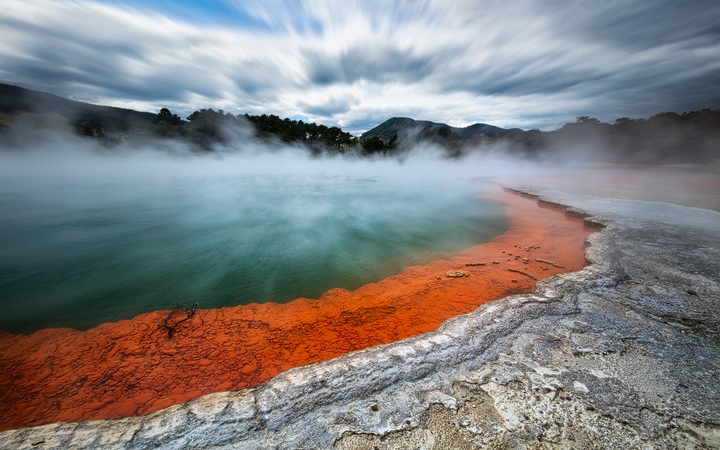 The colorful Wai-O-Tapu hot pool in Rotorua
