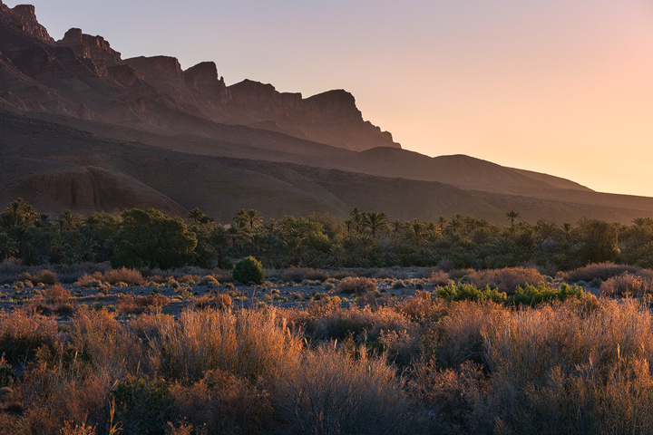 The mountains near the Hara Oasis during Sunrise