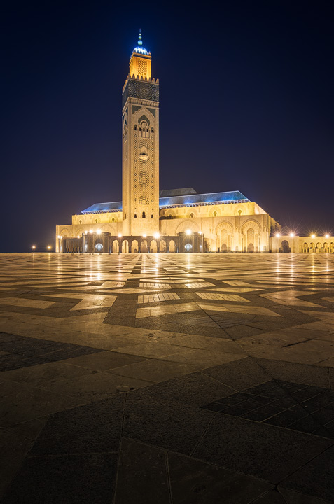 The Hassan II Mosque in Casablanca during blue hour