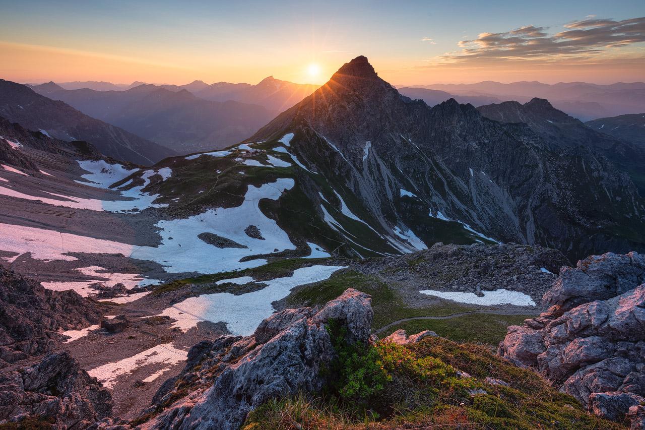 Sunset over the Schüsser Mountain