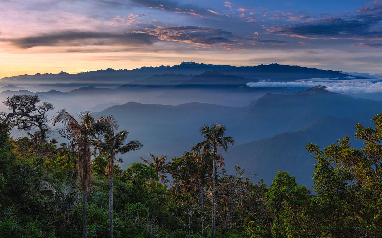 The mountains of the Sierra Nevada de Santa Marta during Sunrise