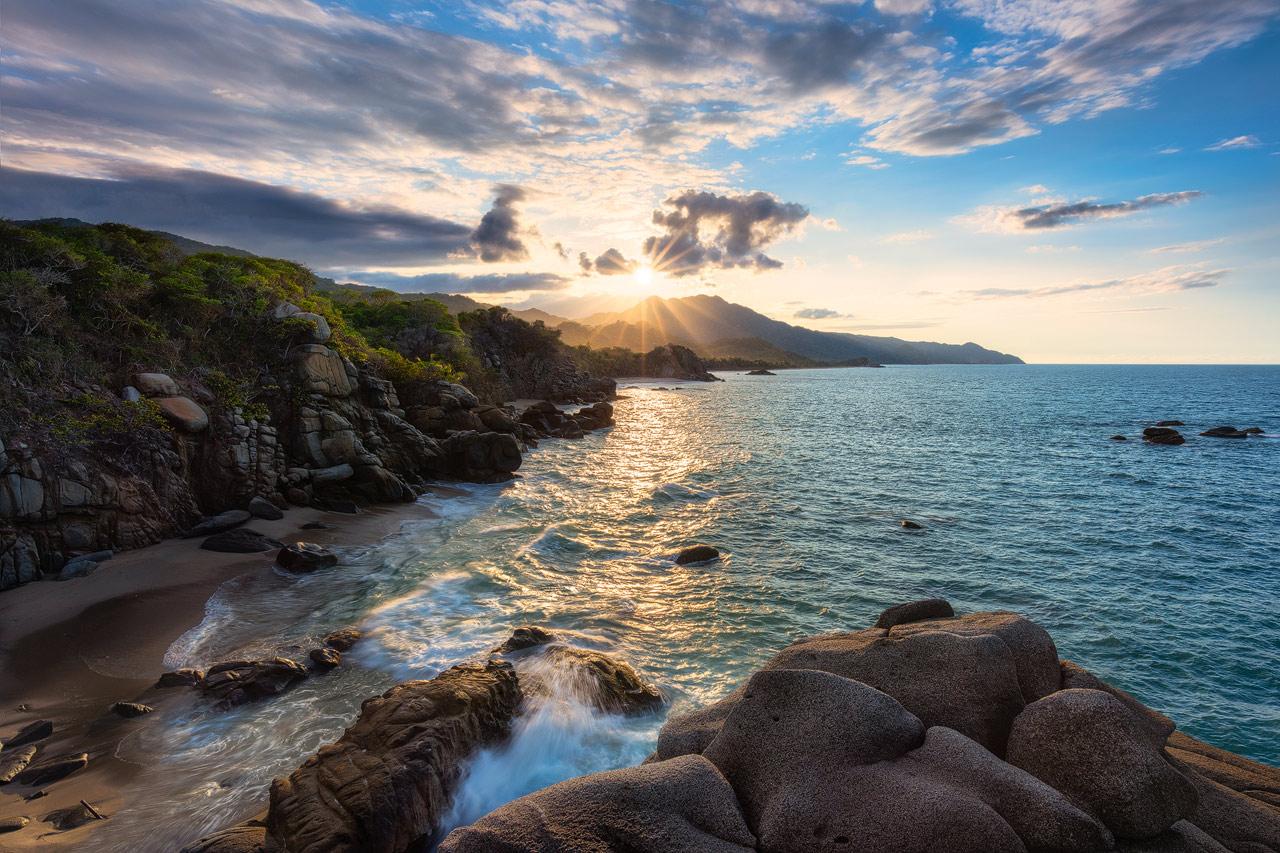 Sunset view overlooking the Tayrona coastline