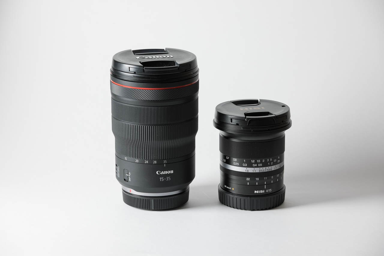NiSi 15mm f4 Size compared against Canon 15-35