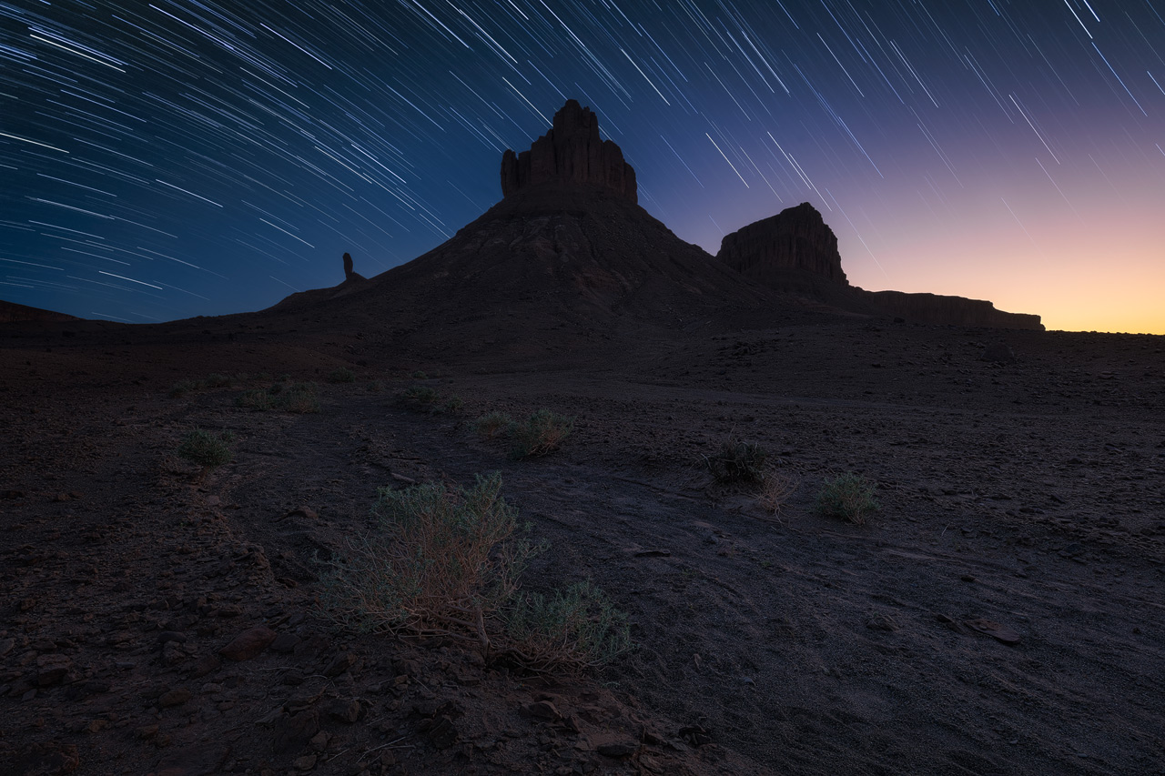 Star Trails over some magnificent mountins in the Desert of Morocco