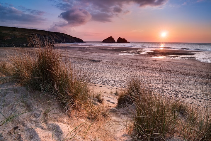 Sunset at the Holywell beach near Newquay