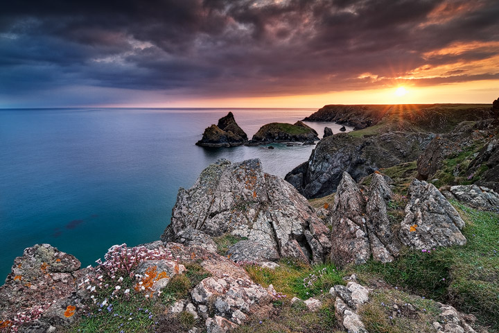 Sunset at Kynance Cove on the Lizard Peninsula in Cornwall