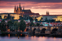 Prague, the golden city under a red sky