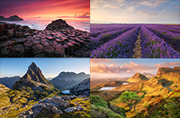 Composite of landscape photos from europe.