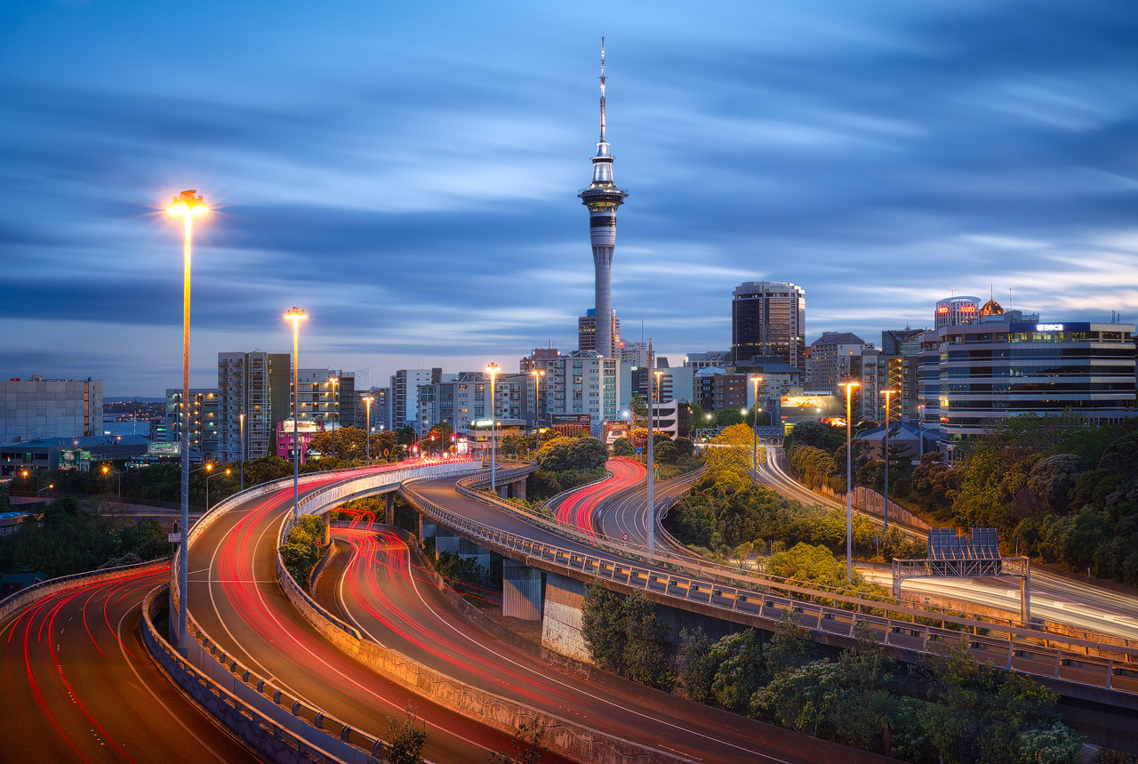 A unique view of Auckland during blue hour.