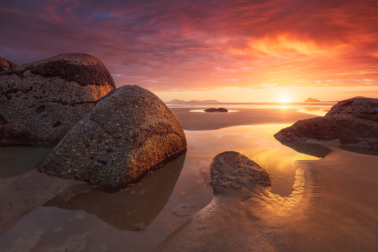 Colorful sunset at Wilsons Promontory Park in southern Australia.
