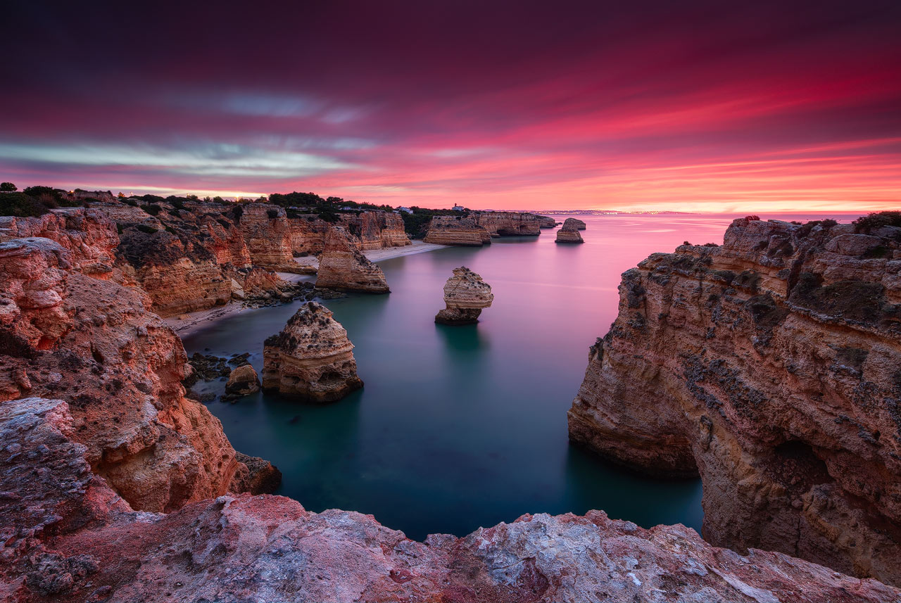 Spectacular sunrise at Praia da Marinha in Portugal.