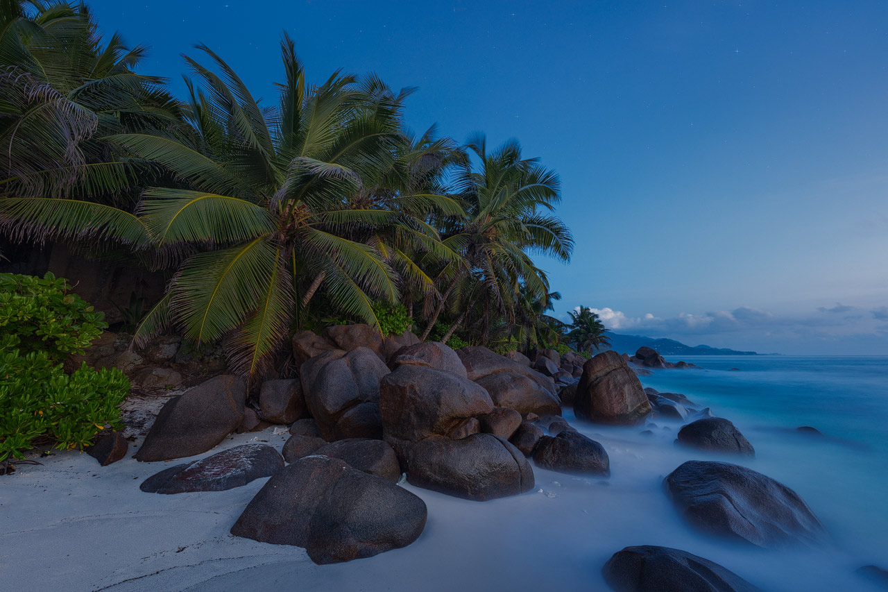 A secluded little cove in the south of Mahe during blue hour