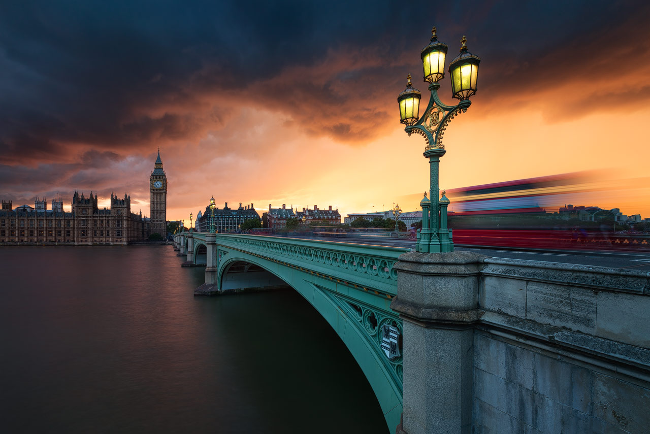 During a photo trip to London I took this spectacular shot of Westminster Bridge during a storm.