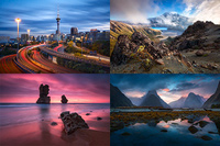 Composite of landscape photos from Australia and New Zealand