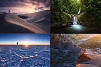 Composite of landscape photos from South America